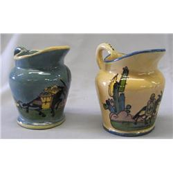 2 Ceramic Hand Painted Small Mexican Pitchers