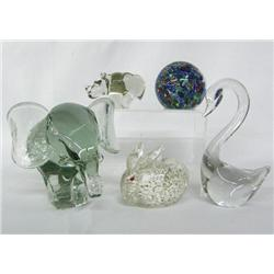 5 Glass Figural Paper Weights