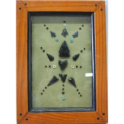 Framed Authentic Southwestern Arrowheads, Beads