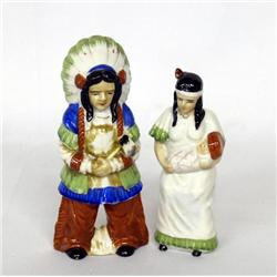Pr Occupied Japan Indian And Woman Figurines