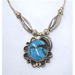 Navajo Silver Turquoise Pendant Necklace