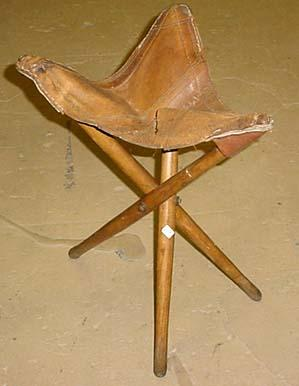 Antique Primitive 3 Legged Stool Leather Seat Ha