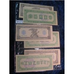31. $1, $5, $10, $20, $100, & $500 Beebeetown, Iowa Centennial Money 6-Piece Currency Set.