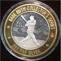 53. .999 Fine Silver  Babe Ruth  Collector's Series Silver Medal with gold-colored bi-metallic ring.