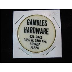 952. Gambles Hardware, Arvada Plaza, Good for $1.00 on $10.00 Purchase.