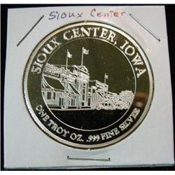 1057. 1891-1991 Sioux Center, Iowa .999 Fine 1-ounce Silver.