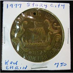 1066. 1977 Story City, Iowa, Scandinavian Days Bronze Medal. Holed.