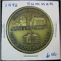 1071. 1872-1972 Sumner, Iowa, Centennial Celebration Bronze Medal.