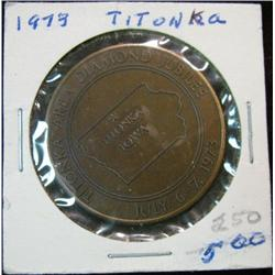 1077. 1898-1973 Titonka, Iowa, Diamond Jubilee Bronze Medal.