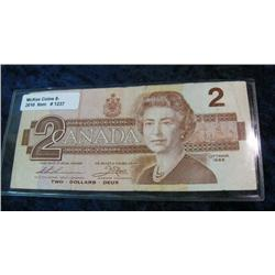 1237. Series 1986 Canadian $2.00 Note. VF.