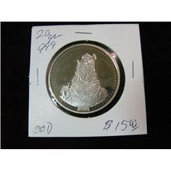 1318. Queen Playing Flute. .999 FS. 20-Grams Medal