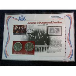 1342. 2-1980 Kennedy Half Dollars in Stamped Panel.