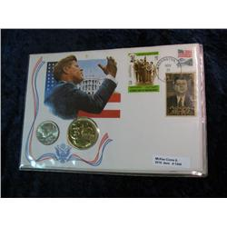 1345. 1976 Kennedy Half & Medal in Stamped Panel.