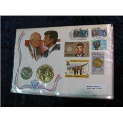 1347. 1974 Kennedy Half Dollar & Medal in Stamped Panel.