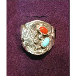 506. Eagle Ring with Turquoise & Coral in Sterling Silver. Size 7.