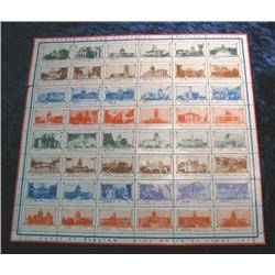 "553. Plate Sheet of House of Seagram Stamps ""A Salute to the 48 States"". Mint condition."