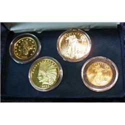 "563. Four-piece 24K Gold Plate Commemorative ""History of American Gold"" Set"