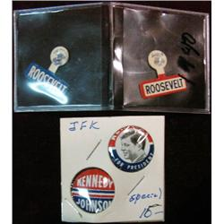 566. (2( Roosevelt Red & Blue Lapel Pins.& (2) JFK Campaign Pins