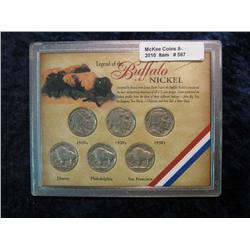 567. Legend of the Buffalo Nickel. 6-Coin Set.
