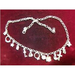 "570. 18"" .925 Fine Silver 34.6 Grams Charm Necklace."