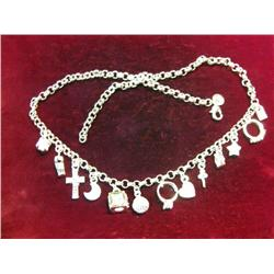 "572. 18"" .925 Fine Silver 33.9 Grams Charm Necklace."
