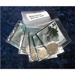 605. (5) Gift Packs of Pre-1939 Buffalo Nickels with Indian Heads.