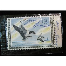 622. Scott RW No. 30 1963 Federal Duck Stamp. Signed. Cat. $10.50