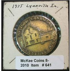 641. 1875-1975 Lynville, Iowa Centennial Medal. 39mm. Brass.