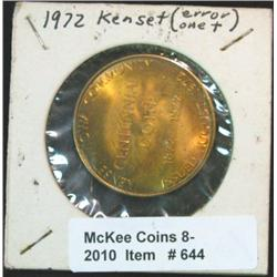 644. 1872-1972 Kenset, Iowa Centennial Medal. 34mm. Brass.