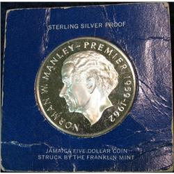 710. 1973 Proof Jamaica Five Dollar Sterling Silver Coin. Depicts