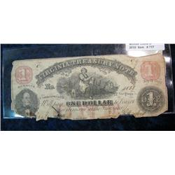 717. July 21, 1862 Virginia Treasury (Civil War) Note. Signed by Bennett &