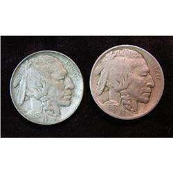 731. 1913 P Type One & Two Buffalo Nickels. Both with full horns.