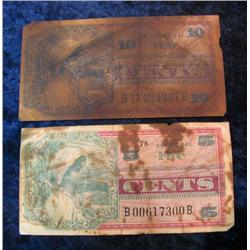 747. Series 661 Five & Ten Cent Military Payment Certificates. Both stained.