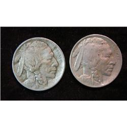 750. (2) 1913 P Type One Buffalo Nickels. Both with full horns.