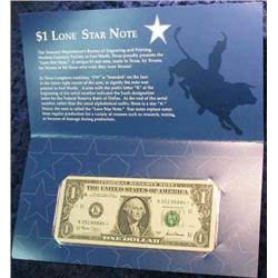 831. Series 2001 Texas Dollar. Unc. Star Note.