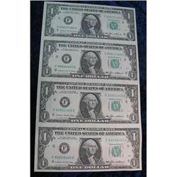 832. Series 1985 Uncut Sheet of 4- Dollar Bills. Uncirculated.