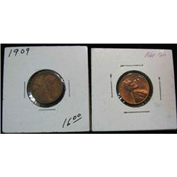 838. 1909P F and 1960DLg Date Unc. Lincoln Cents.