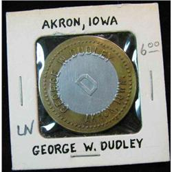 844. George W. Dudley, Akron, Iowa, Good For 50c in Trade. Bi-metal.