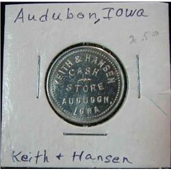 847. Keith & Hansen, Cash Store, Audubon (Aududon), Iowa, Good For 10c in Trade.