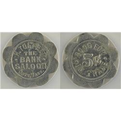 Doty,WA - Lewis County - Bank Saloon Token : 5c - Genuine - 5201301-031