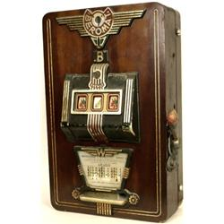 Interesting mahogany cased 3 reel slot machine