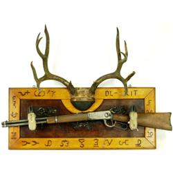 Early well made antler coat rack