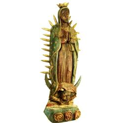 Spanish hand carved wooden statue of Guadalupe