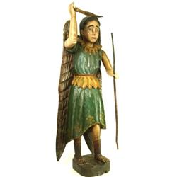 "Spanish carved angle figure measuring 43"" tall."