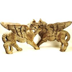 19th C. architectural full relief carved lions