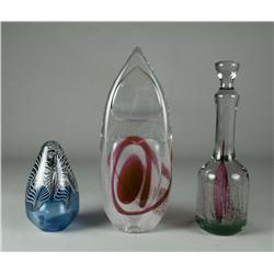 (3) Adam Jablonski Art Glass Sculptures