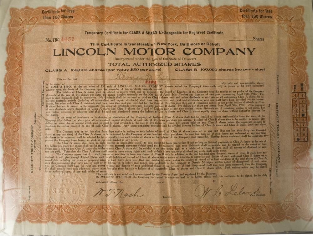 lincoln motor company stock certificate