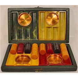 EARLY BAKELITE POKER CHIP SET W/ 4 BAKELITE PLAYER