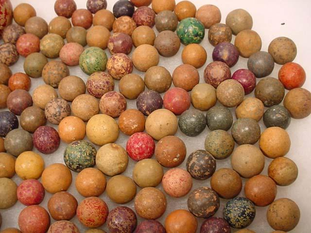 Large Lot Of Vintage Clay Marbles Incl Some Lar