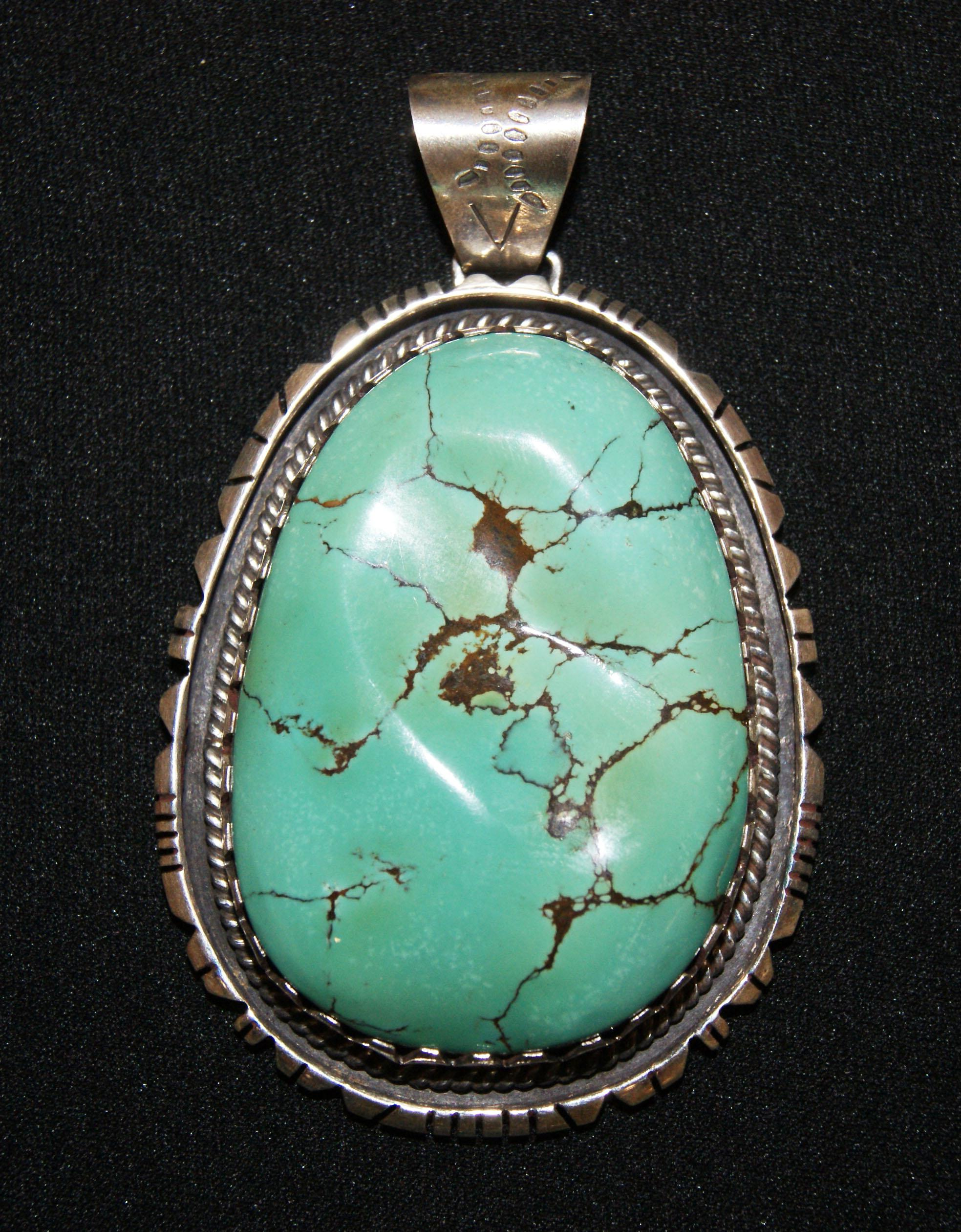 american turquoise pendant by peter necklace ella blue front moon navajo native